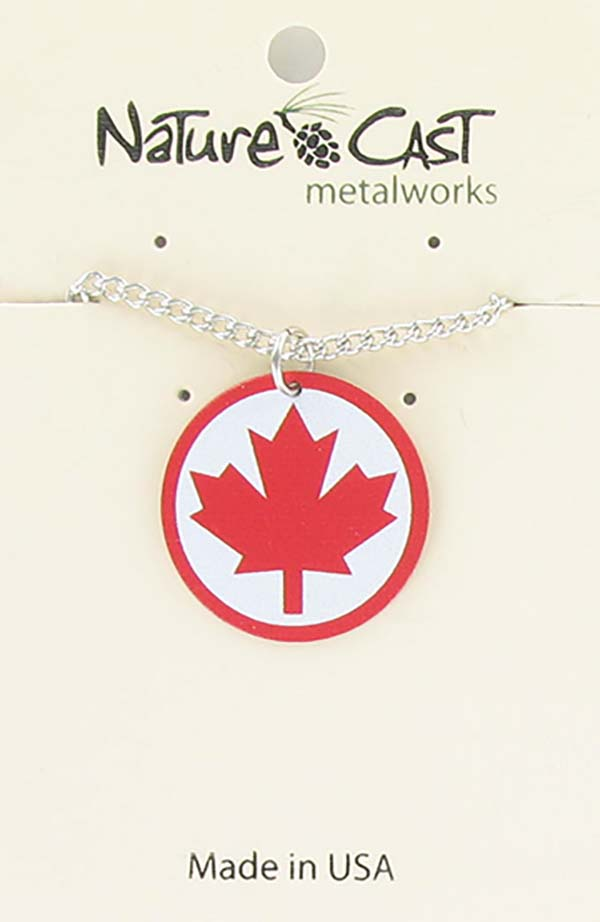 "Pendant red maple on white border w/ 18"" chain THUMBNAIL"