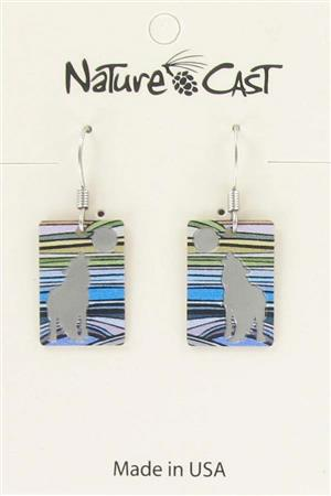 Earring dangle rectangle wolf with stripes