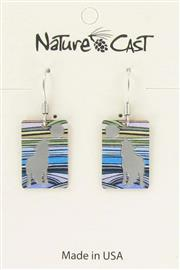 Earring dangle rectangle wolf with stripes THUMBNAIL