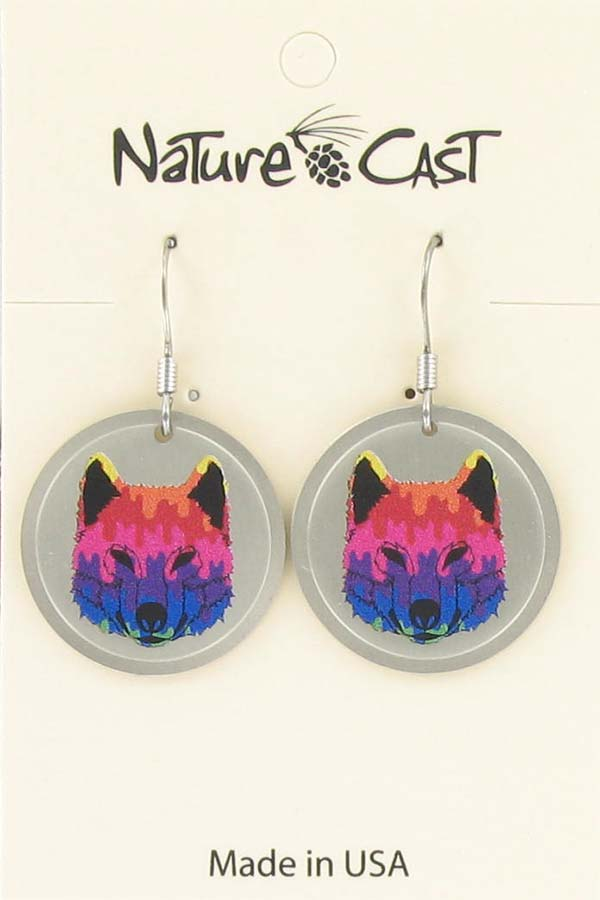 Earring dangle colorful wolf face LARGE