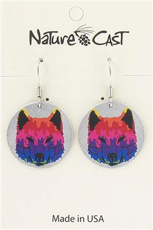 Earring dangle colorful wolf face MAIN