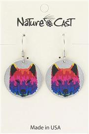 Earring dangle colorful wolf face THUMBNAIL