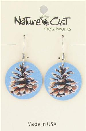 Earring dangle color pine cone round LARGE