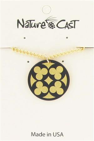 "Pendant quatrefoil on gold w/ 18"" chain LARGE"