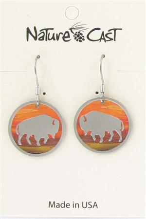 Earring dangle sunset round bison LARGE