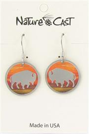 Earring dangle sunset round bison_THUMBNAIL