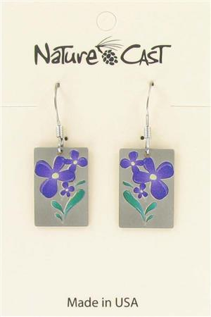 Earring dangle small purple flower LARGE