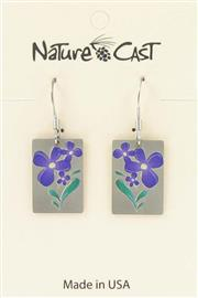 Earring dangle small purple flower THUMBNAIL