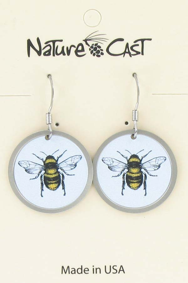 Earring dangle honey bee THUMBNAIL