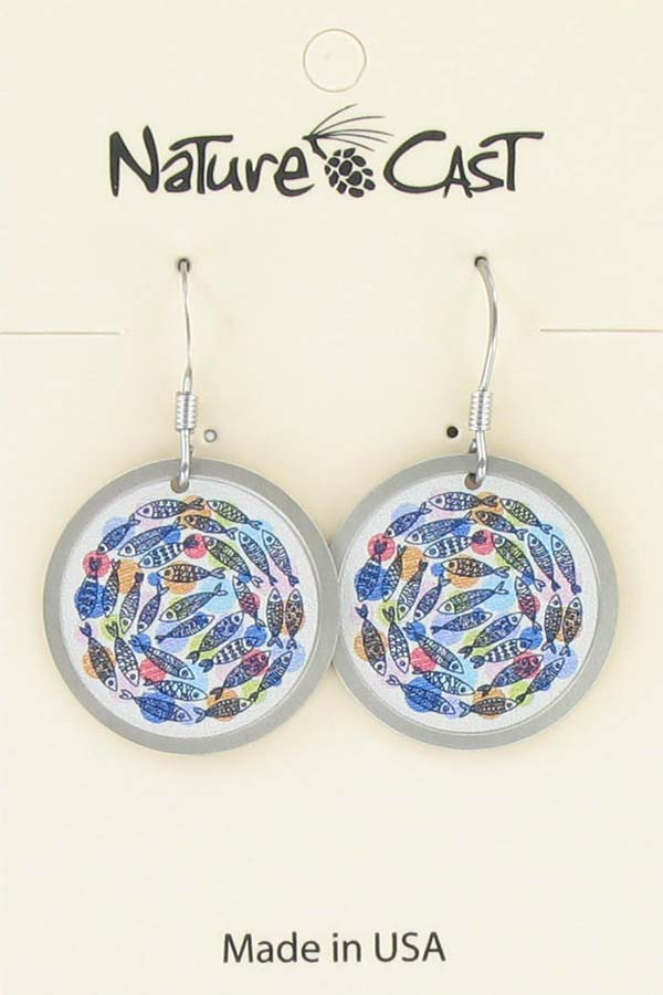 Earring dangle circle of fish THUMBNAIL