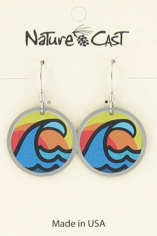 Earring dangle ocean wave LARGE