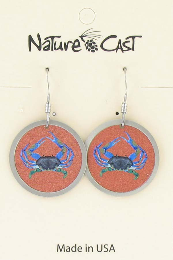 Earring dangle colorful crab LARGE