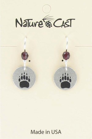 Earring dangle small bear track LARGE