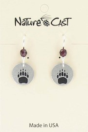 Earring dangle small bear track THUMBNAIL