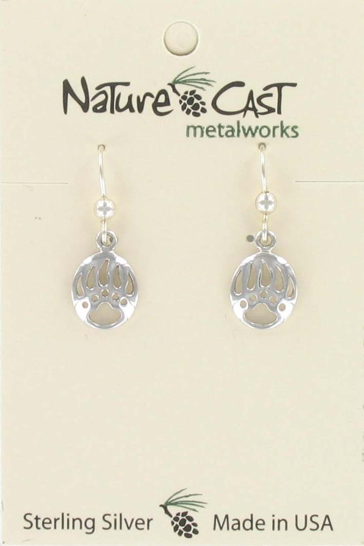 Earring dangle cutout bear paw sterling silver