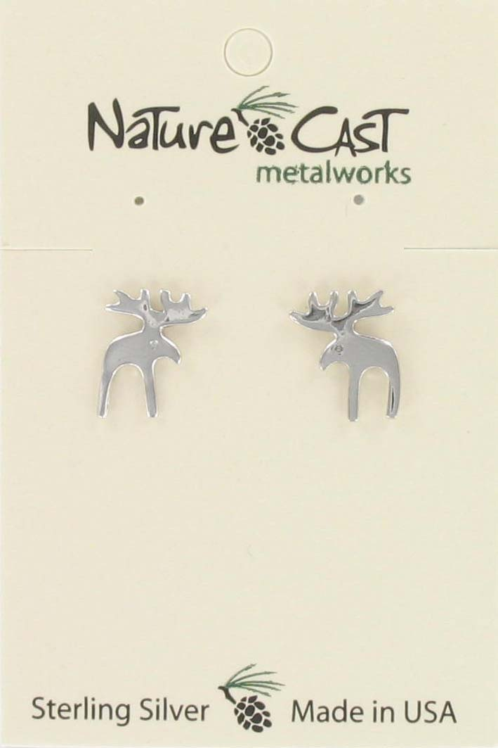 Earring post moose sterling silver THUMBNAIL