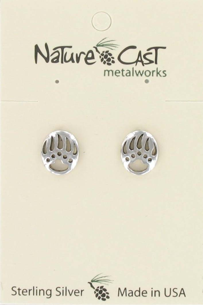 Earring post cutout bear paw sterling silver