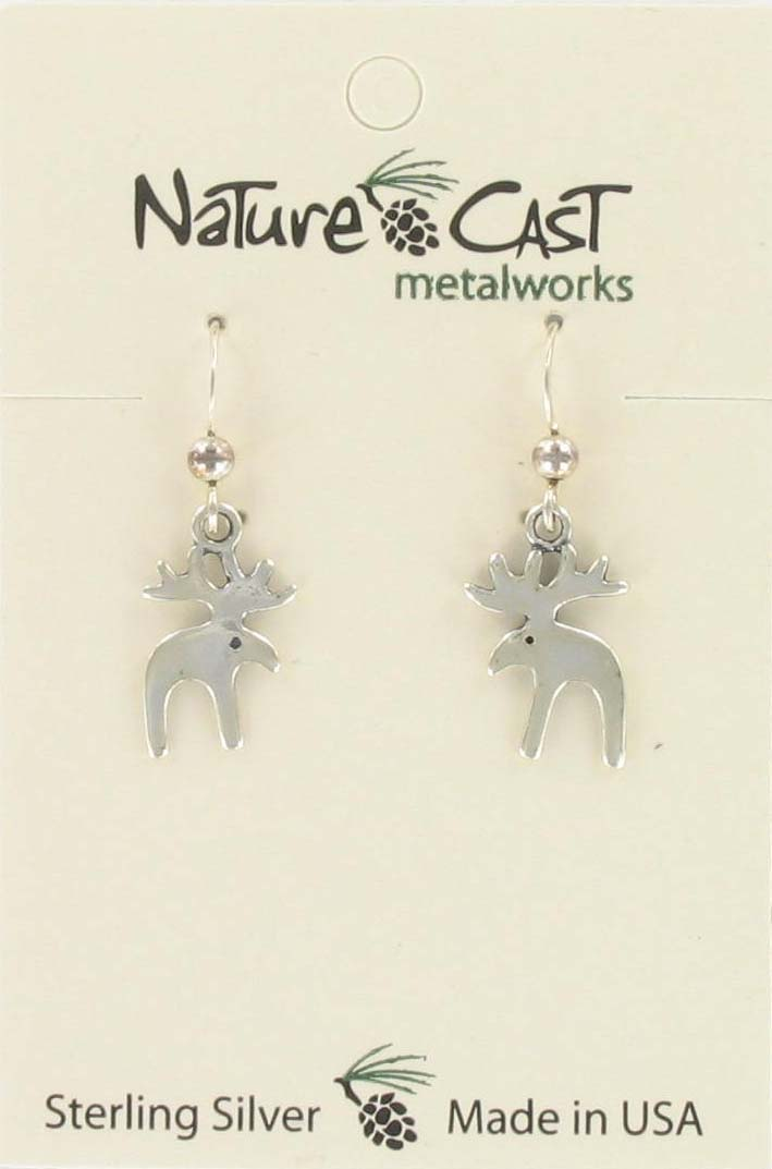 Earring dangle moose sterling silver THUMBNAIL