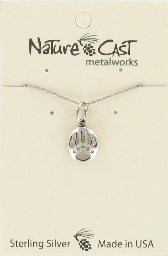 "Pendant small cutout bear paw w/ 18"" chain sterling silver"
