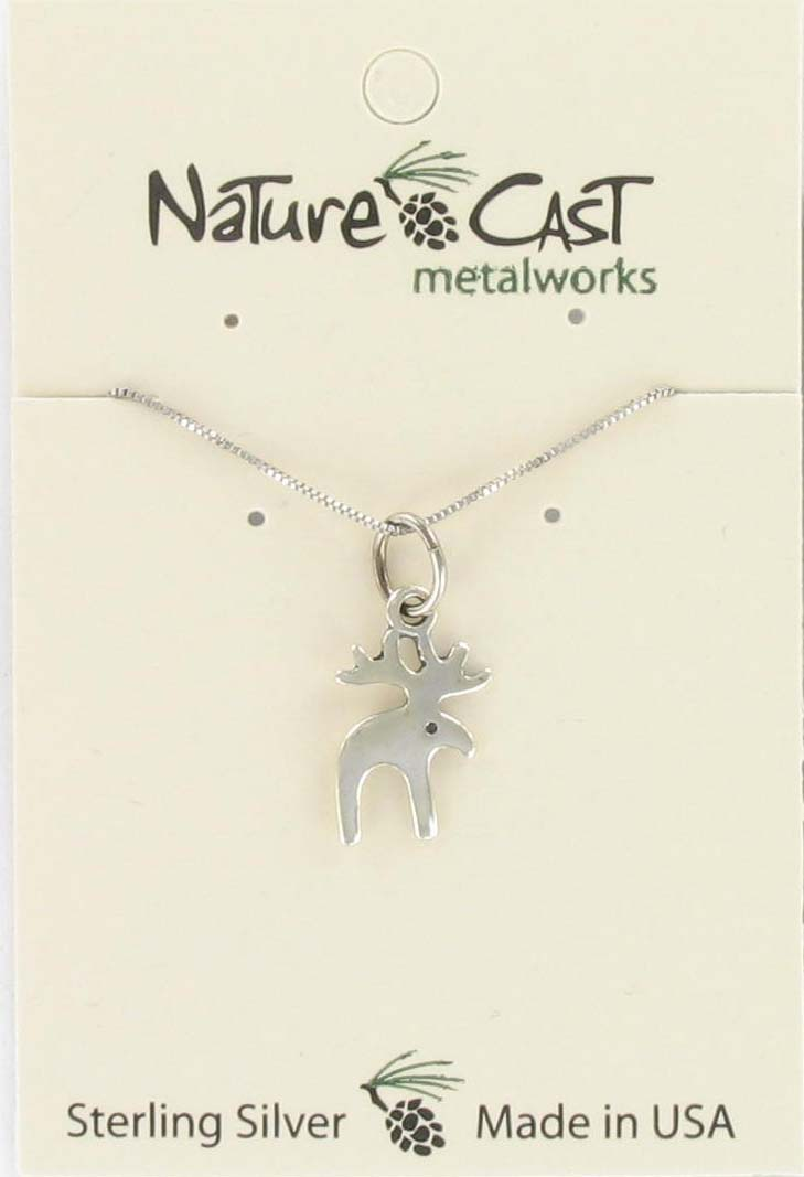 "Pendant small contemporary moose w/18"" chain sterling silver"
