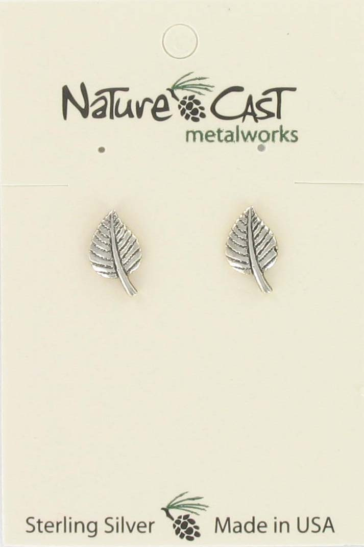 Earring post aspen leaf sterling silver