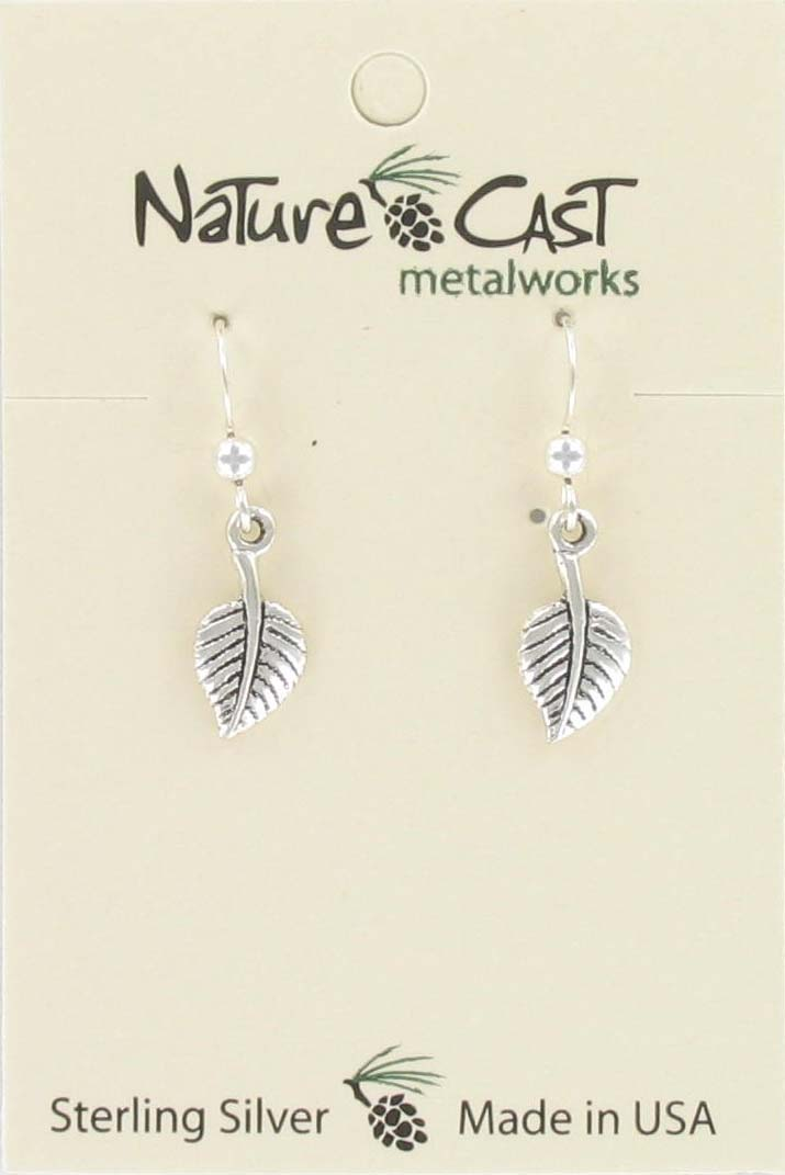 Earring dangle aspen leaf sterling silver