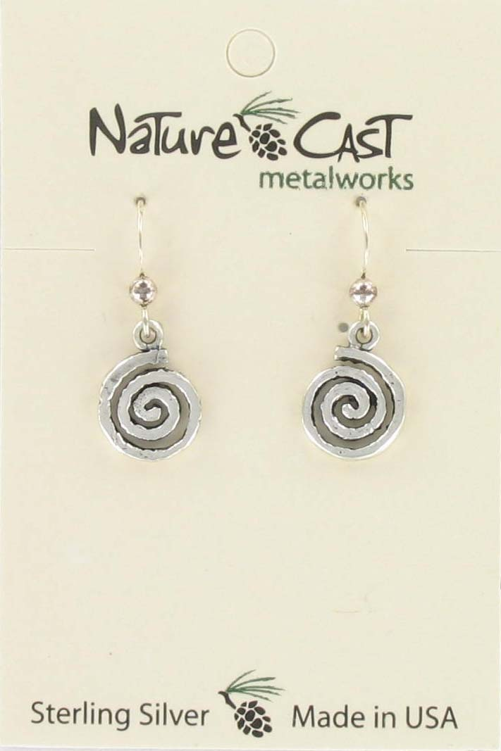 Earring dangle spiral sterling silver