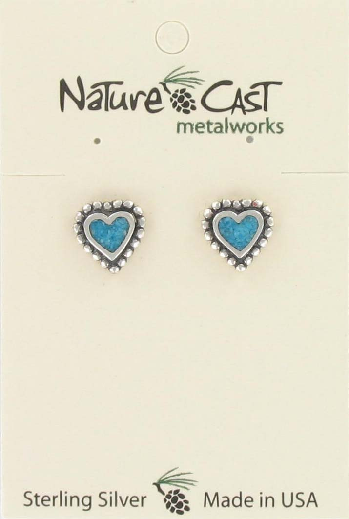Earring post beaded heart w/inlay sterling silver
