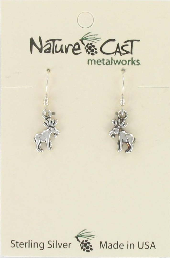 Earring dangle small moose sterling silver