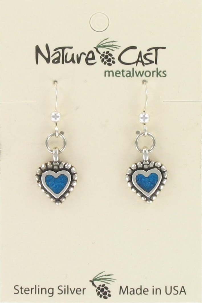 Earring dangle beaded heart w/turquoise Inlay sterling silver