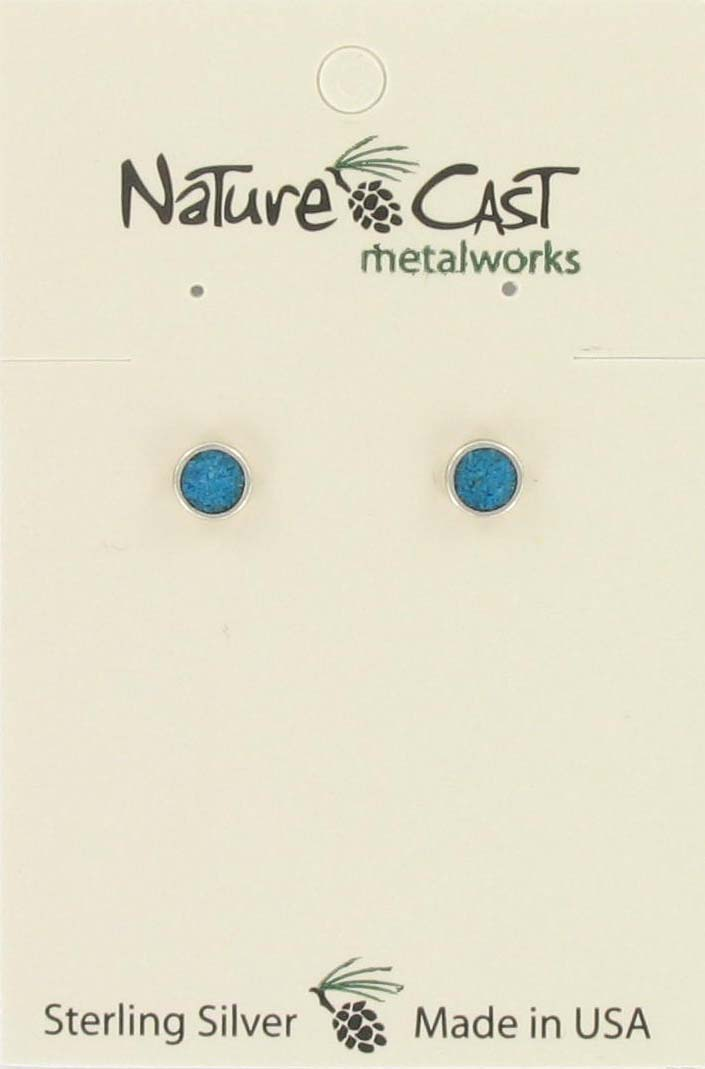 Earring post round turquoise button sterling silver