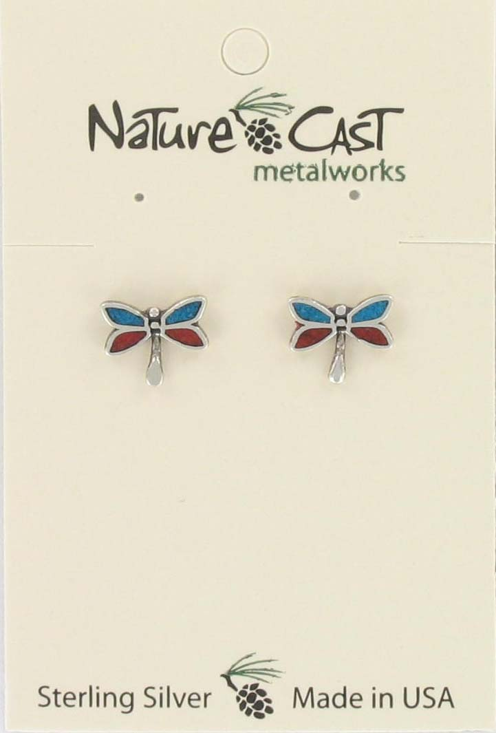 Earring post inlay coral/turquoise dragonfly sterling silver MAIN