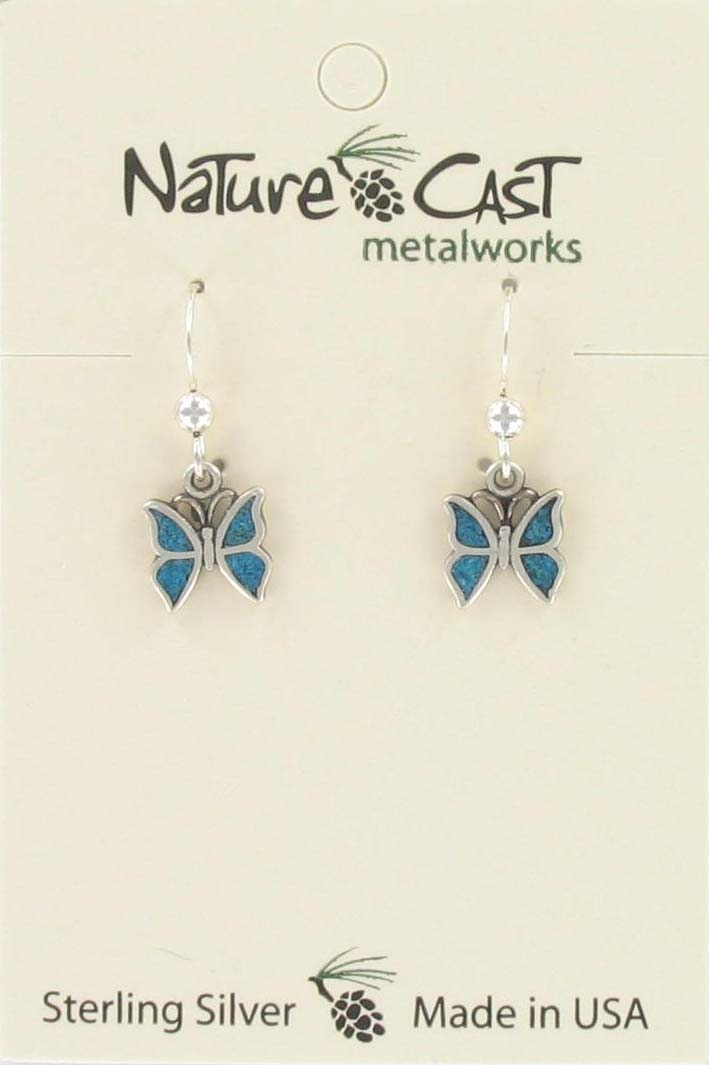 Earring dangle turquoise inlay butterfly sterling silver