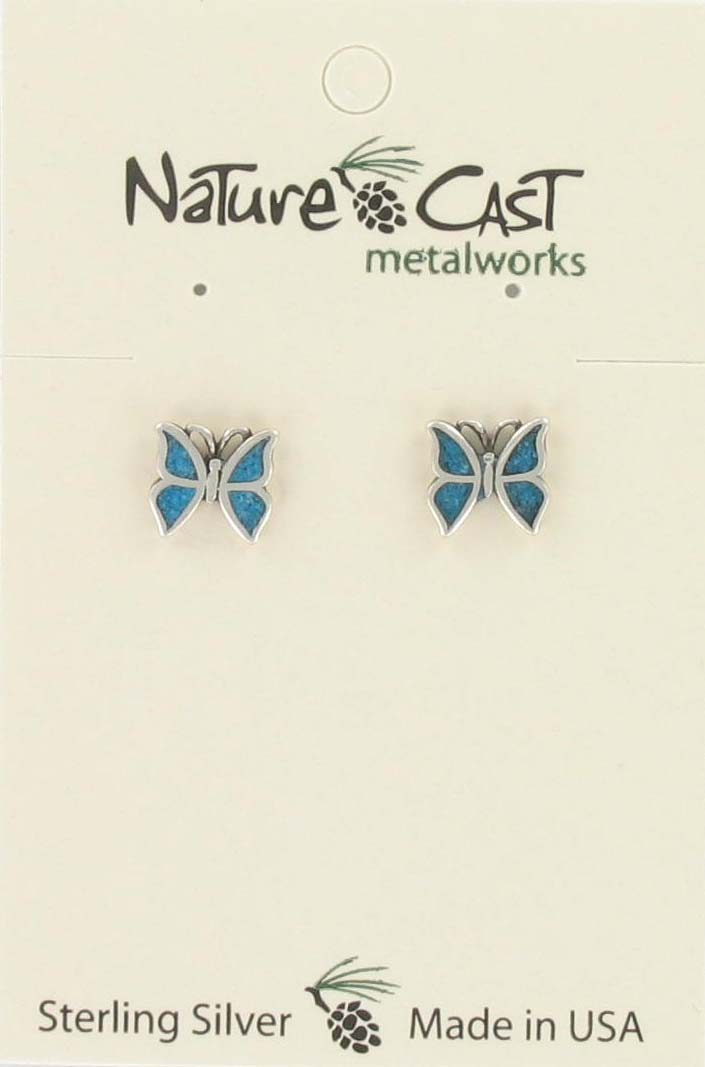 Earring post inlay turquoise butterfly sterling silver THUMBNAIL