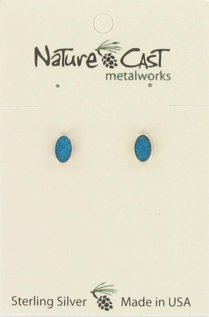 Earring post oval turquoise button sterling silver