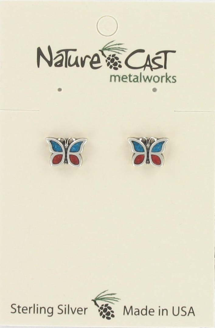 Earring post coral/turquoise inlay butterfly sterling silver THUMBNAIL