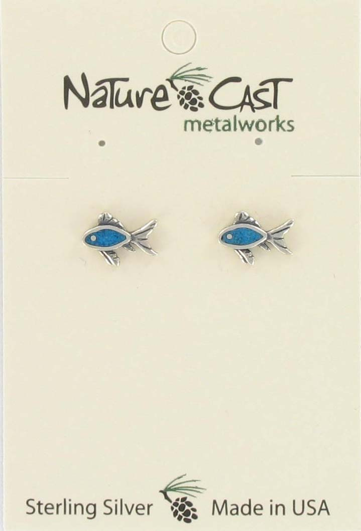 Earring post inlay turquoise fish sterling silver