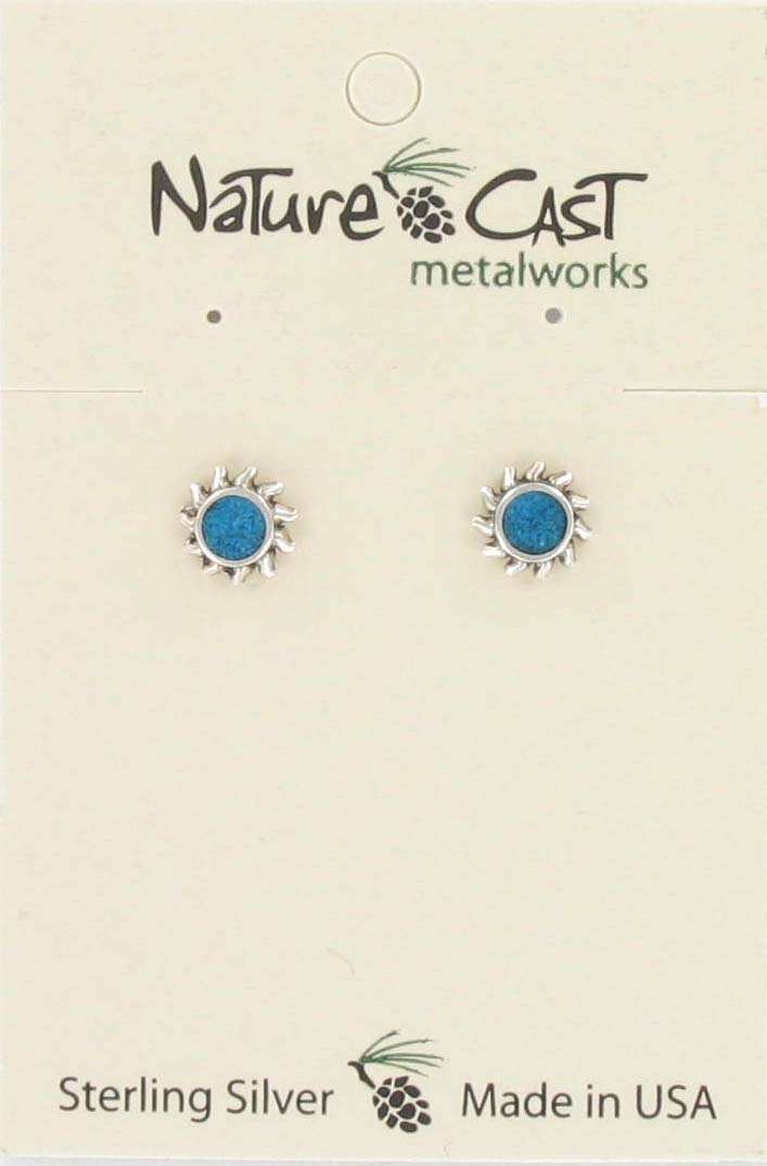 Earring post sun turquoise sterling silver THUMBNAIL