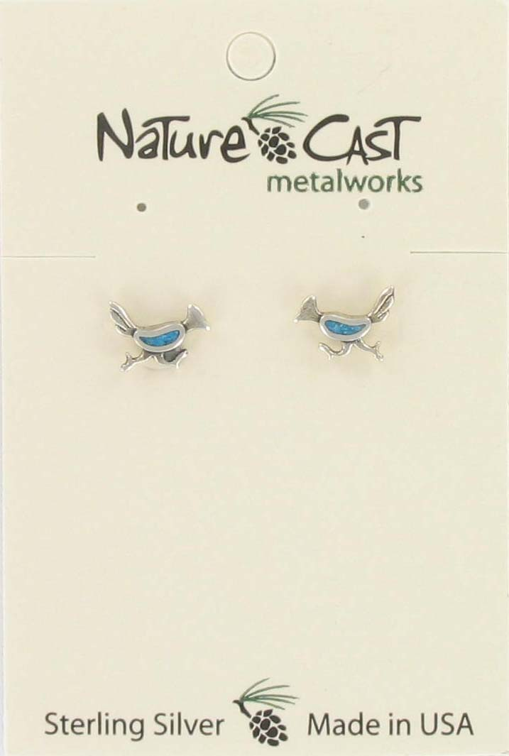 Earring post roadrunner turquoise sterling silver THUMBNAIL