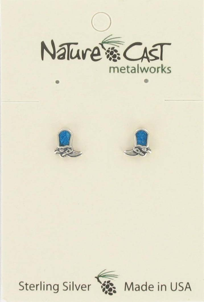 Earring post boot with turquoise inlay sterling silver THUMBNAIL