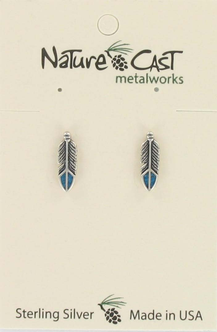 Earring post arrow with turquoise inlay sterling silver THUMBNAIL