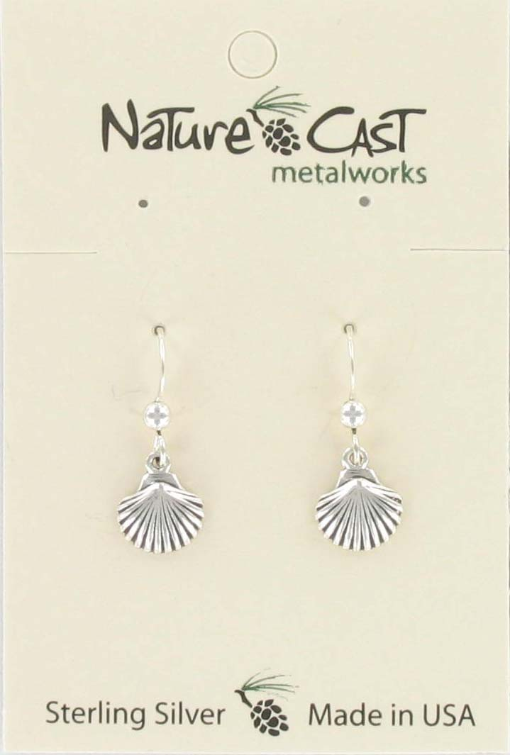 Earring dangle clam shell sterling silver_THUMBNAIL