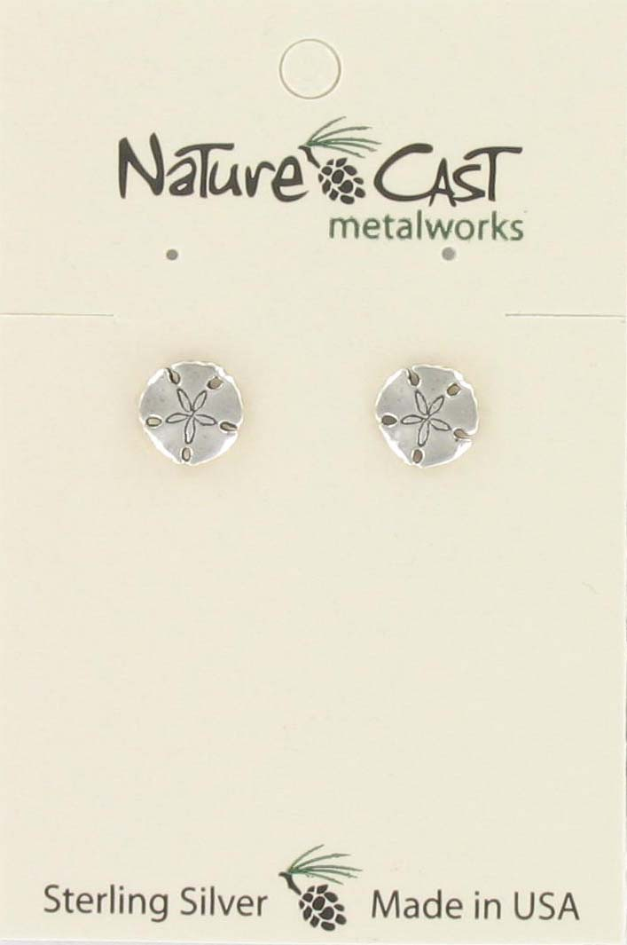 Earring post sand dollar sterling silver THUMBNAIL
