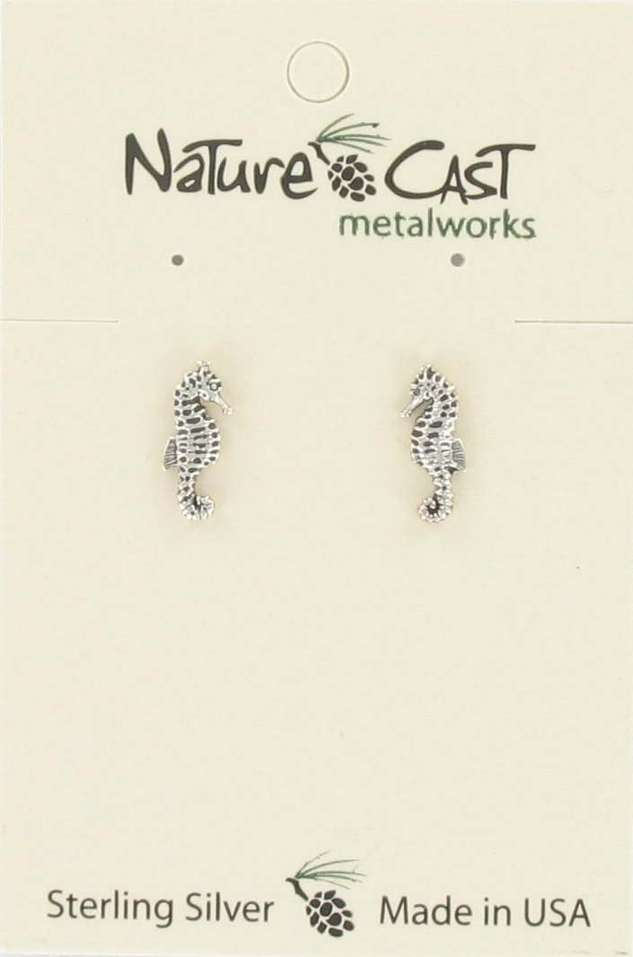 Earring post sea horse sterling silver THUMBNAIL