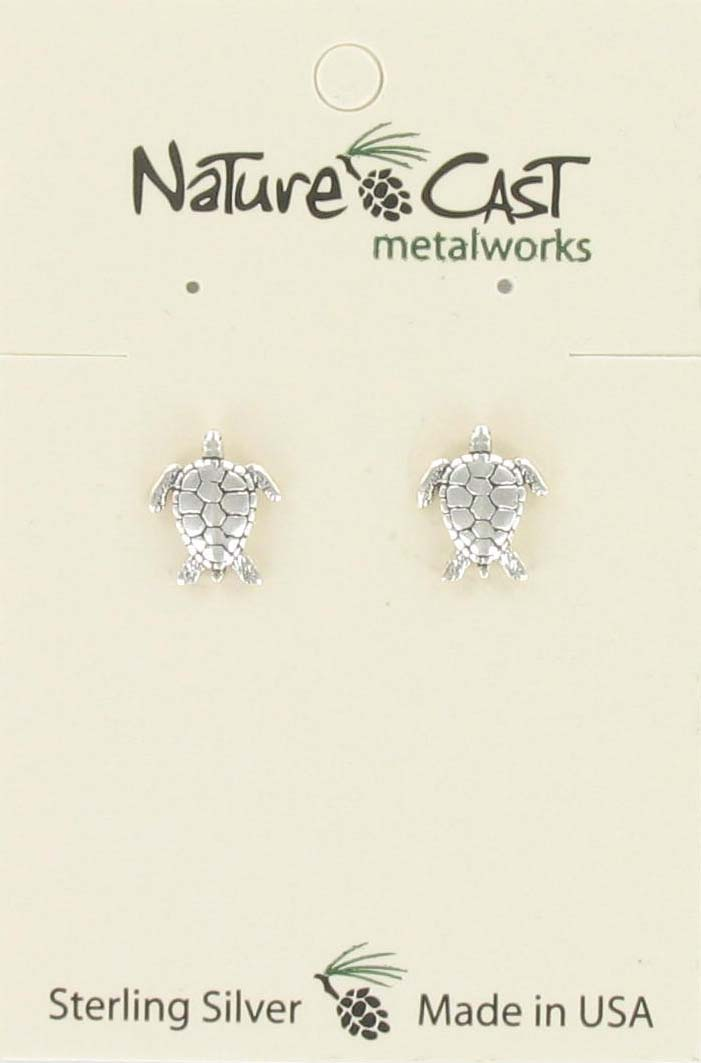 Earring post sea turtle sterling silver THUMBNAIL