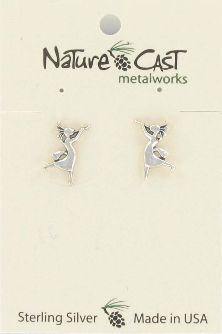 Earring post kokopelli girl sterling silver THUMBNAIL