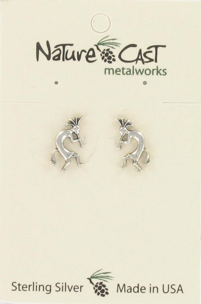 Earring post kokopelli boy sterling silver THUMBNAIL