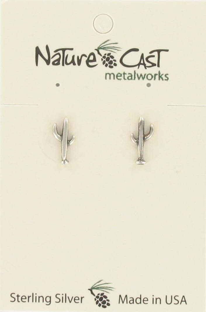 Earring post cactus sterling silver_THUMBNAIL