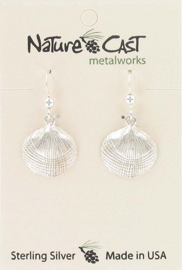 Earring dangle clam shell sterling silver THUMBNAIL