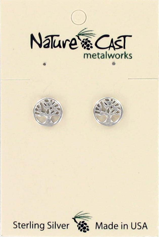 Earring post tree of life sterling silver